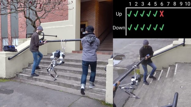 Blind bipedal robot learns to climb stairs